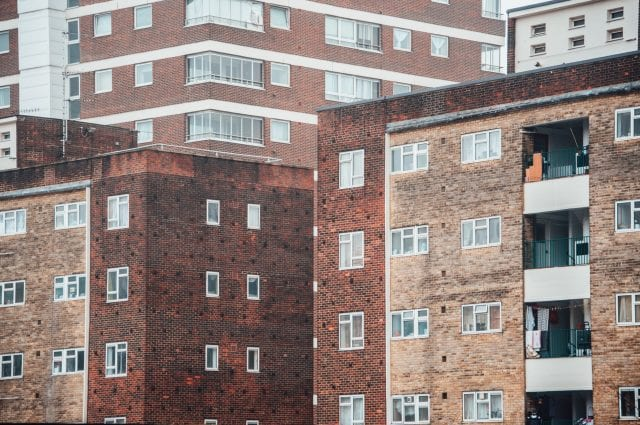 Facades of different apartment buildings in London